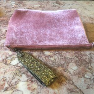 Rose Gold Pink Velvet Glittery Clutch Wristlet Bag